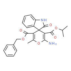 ChemSpider 2D Image | 5'-Benzyl 3'-isopropyl 2'-amino-6'-methyl-2-oxo-1,2-dihydrospiro[indole-3,4'-pyran]-3',5'-dicarboxylate | C25H24N2O6