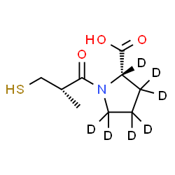 ChemSpider 2D Image | 1-[(2S)-2-Methyl-3-sulfanylpropanoyl]-L-(2,3,3,4,4,5,5-~2~H_7_)proline | C9H8D7NO3S