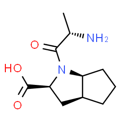 ChemSpider 2D Image | (2S,3aS,6aS)-1-[(2S)-2-Aminopropanoyl]octahydrocyclopenta[b]pyrrole-2-carboxylic acid | C11H18N2O3