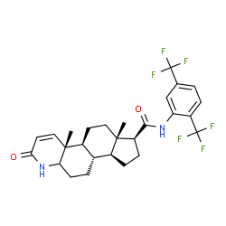 ChemSpider 2D Image | (1S,3aS,3bS,9aR,9bS,11aS)-N-[2,5-bis(trifluoromethyl)phenyl]-9a,11a-dimethyl-7-oxo-1,2,3,3a,3b,4,5,5a,6,9b,10,11-dodecahydroindeno[5,4-f]quinoline-1-carboxamide | C27H30F6N2O2