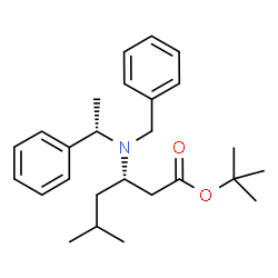 ChemSpider 2D Image | tert-Butyl (3S)-3-{benzyl[(1S)-1-phenylethyl]amino}-5-methylhexanoate | C26H37NO2