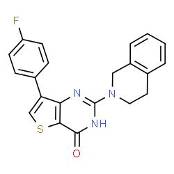 ChemSpider 2D Image | 2-(3,4-Dihydro-2(1H)-isoquinolinyl)-7-(4-fluorophenyl)thieno[3,2-d]pyrimidin-4(1H)-one | C21H16FN3OS