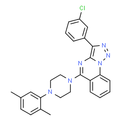 ChemSpider 2D Image | 3-(3-Chlorophenyl)-5-[4-(2,5-dimethylphenyl)-1-piperazinyl][1,2,3]triazolo[1,5-a]quinazoline | C27H25ClN6