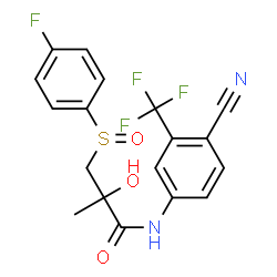 ChemSpider 2D Image   N-[4-Cyano-3-(trifluoromethyl)phenyl]-3-[(4-fluorophenyl)sulfinyl]-2-hydroxy-2-methylpropanamide   C18H14F4N2O3S