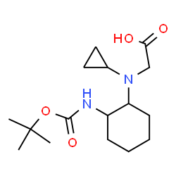 ChemSpider 2D Image | N-Cyclopropyl-N-[2-({[(2-methyl-2-propanyl)oxy]carbonyl}amino)cyclohexyl]glycine | C16H28N2O4