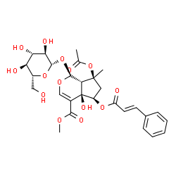ChemSpider 2D Image | Methyl (1S,4aR,5R,7S,7aS)-7-acetoxy-1-(beta-D-glucopyranosyloxy)-4a-hydroxy-7-methyl-5-{[(2E)-3-phenyl-2-propenoyl]oxy}-1,4a,5,6,7,7a-hexahydrocyclopenta[c]pyran-4-carboxylate | C28H34O14