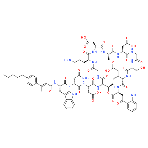 ChemSpider 2D Image | Surotomycin | C77H101N17O26