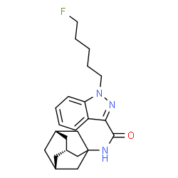 ChemSpider 2D Image | N-[(3s,5s,7s)-Adamantan-1-yl]-1-(5-fluoropentyl)-1H-indazole-3-carboxamide | C23H30FN3O