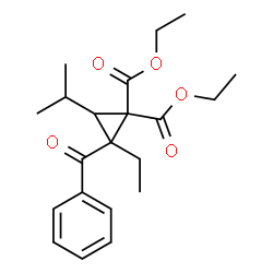 ChemSpider 2D Image | Diethyl 2-benzoyl-2-ethyl-3-isopropyl-1,1-cyclopropanedicarboxylate | C21H28O5