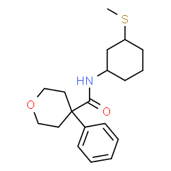 ChemSpider 2D Image | N-[3-(Methylsulfanyl)cyclohexyl]-4-phenyltetrahydro-2H-pyran-4-carboxamide | C19H27NO2S