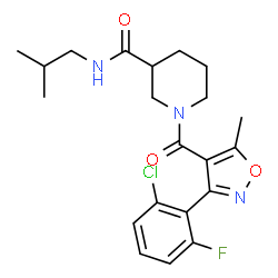 ChemSpider 2D Image | 1-{[3-(2-Chloro-6-fluorophenyl)-5-methyl-1,2-oxazol-4-yl]carbonyl}-N-isobutyl-3-piperidinecarboxamide | C21H25ClFN3O3
