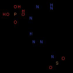 ChemSpider 2D Image | {1-(Ethylsulfonyl)-3-[4-(1H-pyrrolo[2,3-d]pyrimidin-4-yl)-1H-pyrazol-1-yl]-3-azetidinyl}acetonitrile phosphate (1:1) | C16H20N7O6PS