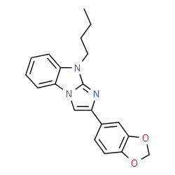 ChemSpider 2D Image | 2-(1,3-Benzodioxol-5-yl)-9-butyl-9H-imidazo[1,2-a]benzimidazole | C20H19N3O2