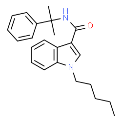 ChemSpider 2D Image | 1-Pentyl-N-(2-phenyl-2-propanyl)-1H-indole-3-carboxamide | C23H28N2O