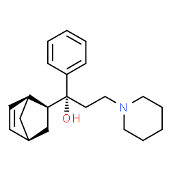 ChemSpider 2D Image | (1R)-1-[(2S,4S)-Bicyclo[2.2.1]hept-5-en-2-yl]-1-phenyl-3-(1-piperidinyl)-1-propanol | C21H29NO