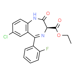 ChemSpider 2D Image | Ethyl (3S)-7-chloro-5-(2-fluorophenyl)-2-oxo-2,3-dihydro-1H-1,4-benzodiazepine-3-carboxylate | C18H14ClFN2O3