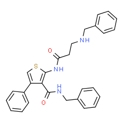ChemSpider 2D Image | N-Benzyl-2-[(N-benzyl-beta-alanyl)amino]-4-phenyl-3-thiophenecarboxamide | C28H27N3O2S