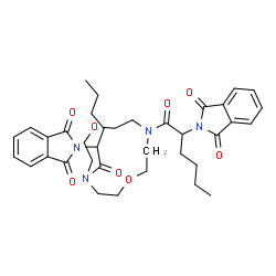 ChemSpider 2D Image | 2,2'-[1,7-Dioxa-4,10-diazacyclododecane-4,10-diylbis(1-oxo-1,2-hexanediyl)]bis(1H-isoindole-1,3(2H)-dione) | C36H44N4O8