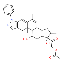 ChemSpider 2D Image | 2-(1,11-Dihydroxy-2,5,10a,12a-tetramethyl-7-phenyl-1,2,3,3a,3b,7,10,10a,10b,11,12,12a-dodecahydrocyclopenta[5,6]naphtho[1,2-f]indazol-1-yl)-2-oxoethyl acetate | C32H38N2O5
