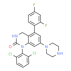 ChemSpider 2D Image | 1-(2,6-DICHLOROPHENYL)-5-(2,4-DIFLUOROPHENYL)-7-PIPERAZIN-1-YL-3,4-DIHYDROQUINAZOLIN-2(1H)-ONE | C24H20Cl2F2N4O