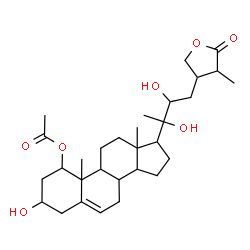 ChemSpider 2D Image | 3,20,22-Trihydroxy-26-oxo-26,28-epoxyergost-5-en-1-yl acetate | C30H46O7