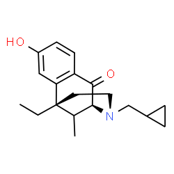 ChemSpider 2D Image | (1R,9S)-10-(Cyclopropylmethyl)-1-ethyl-4-hydroxy-13-methyl-10-azatricyclo[7.3.1.0~2,7~]trideca-2,4,6-trien-8-one | C19H25NO2