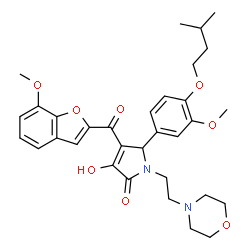 ChemSpider 2D Image | 3-Hydroxy-4-[(7-methoxy-1-benzofuran-2-yl)carbonyl]-5-[3-methoxy-4-(3-methylbutoxy)phenyl]-1-[2-(4-morpholinyl)ethyl]-1,5-dihydro-2H-pyrrol-2-one | C32H38N2O8