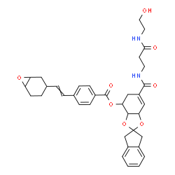 ChemSpider 2D Image | 6-({3-[(2-Hydroxyethyl)amino]-3-oxopropyl}carbamoyl)-1',3',3a,4,5,7a-hexahydrospiro[1,3-benzodioxole-2,2'-inden]-4-yl 4-[2-(7-oxabicyclo[4.1.0]hept-3-yl)vinyl]benzoate | C36H40N2O8