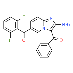 ChemSpider 2D Image | (2-Amino-3-benzoylimidazo[1,2-a]pyridin-6-yl)(2,6-difluorophenyl)methanone | C21H13F2N3O2