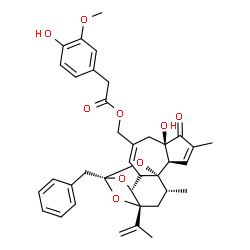 ChemSpider 2D Image | [(1R,2R,6R,11R,13S,15R,17R)-13-Benzyl-6-hydroxy-15-isopropenyl-4,17-dimethyl-5-oxo-12,14,18-trioxapentacyclo[11.4.1.0~1,10~.0~2,6~.0~11,15~]octadeca-3,8-dien-8-yl]methyl (4-hydroxy-3-methoxyphenyl)ace