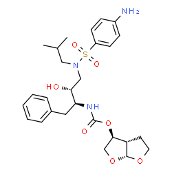 ChemSpider 2D Image | (3S,3aS,6aR)-Hexahydrofuro[2,3-b]furan-3-yl [(2S,3R)-4-{[(4-aminophenyl)sulfonyl](isobutyl)amino}-3-hydroxy-1-phenyl-2-butanyl]carbamate | C27H37N3O7S