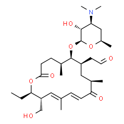 ChemSpider 2D Image | (5S,6R,7R,9R,11E,13E,15R,16R)-16-Ethyl-15-(hydroxymethyl)-5,9,13-trimethyl-2,10-dioxo-7-(2-oxoethyl)oxacyclohexadeca-11,13-dien-6-yl 3,4,6-trideoxy-3-(dimethylamino)-beta-D-xylo-hexopyranoside | C31H51NO8