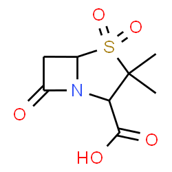 ChemSpider 2D Image | 3,3-Dimethyl-7-oxo-4-thia-1-azabicyclo[3.2.0]heptane-2-carboxylic acid 4,4-dioxide | C8H11NO5S