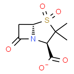 ChemSpider 2D Image | (2R,5S)-3,3-Dimethyl-7-oxo-4-thia-1-azabicyclo[3.2.0]heptane-2-carboxylate 4,4-dioxide | C8H10NO5S