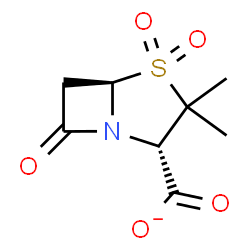 ChemSpider 2D Image | (2S,5R)-3,3-Dimethyl-7-oxo-4-thia-1-azabicyclo[3.2.0]heptane-2-carboxylate 4,4-dioxide | C8H10NO5S
