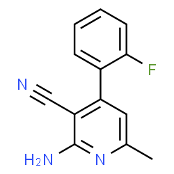 ChemSpider 2D Image | 2-Amino-4-(2-fluorophenyl)-6-methylnicotinonitrile | C13H10FN3