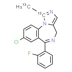ChemSpider 2D Image | 8-Chloro-6-(2-fluorophenyl)-1-(~13~C)methyl(1-~13~C)-4H-imidazo[1,5-a][1,4]benzodiazepine | C1613C2H13ClFN3