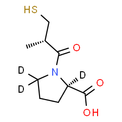 ChemSpider 2D Image | 1-[(2S)-2-Methyl-3-sulfanylpropanoyl]-D-(2,5,5-~2~H_3_)proline | C9H12D3NO3S