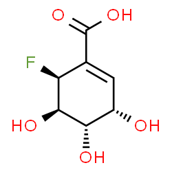 ChemSpider 2D Image | (3S,4S,5R,6S)-6-Fluoro-3,4,5-trihydroxy-1-cyclohexene-1-carboxylic acid | C7H9FO5