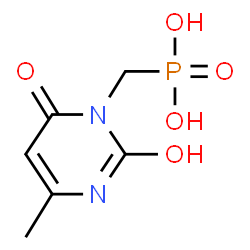ChemSpider 2D Image | [(2-Hydroxy-4-methyl-6-oxo-1(6H)-pyrimidinyl)methyl]phosphonic acid | C6H9N2O5P