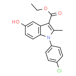 ChemSpider 2D Image | Ethyl 1-(4-chlorophenyl)-5-hydroxy-2-methyl-1H-indole-3-carboxylate | C18H16ClNO3