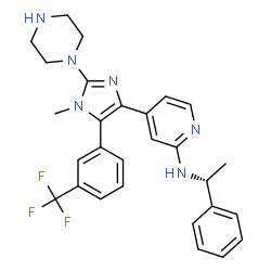 ChemSpider 2D Image | 4-{1-Methyl-2-(1-piperazinyl)-5-[3-(trifluoromethyl)phenyl]-1H-imidazol-4-yl}-N-[(1R)-1-phenylethyl]-2-pyridinamine | C28H29F3N6