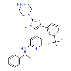 ChemSpider 2D Image | 4-{1-Methyl-2-(1-piperazinyl)-4-[3-(trifluoromethyl)phenyl]-1H-imidazol-5-yl}-N-[(1S)-1-phenylethyl]-2-pyridinamine | C28H29F3N6