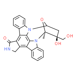 ChemSpider 2D Image | (5S,6S)-6-hydroxy-6-(hydroxymethyl)-5-methyl-5,6,7,8,14,15-hexahydro-13H-5,8-epoxy-4b,8a,14-triazadibenzo[b,h]cycloocta[1,2,3,4-jkl]cyclopenta[e]-as-indacen-13-one | C26H21N3O4