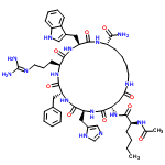 ChemSpider 2D Image | (3S,6S,9R,12S,15S,23S)-15-[(N-Acetyl-L-norleucyl)amino]-9-benzyl-6-(3-carbamimidamidopropyl)-12-(1H-imidazol-4-ylmethyl)-3-(1H-indol-3-ylmethyl)-2,5,8,11,14,17-hexaoxo-1,4,7,10,13,18-hexaazacyclotricosane-23-carboxamide | C50H69N15O9