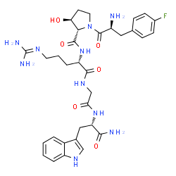 ChemSpider 2D Image | 4-Fluoro-L-phenylalanyl-(3S)-3-hydroxy-L-prolyl-N~5~-(diaminomethylene)-L-ornithylglycyl-L-tryptophanamide | C33H43FN10O6
