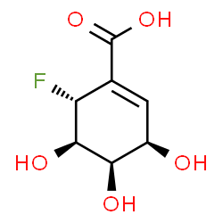 ChemSpider 2D Image | (3R,4R,5R,6R)-6-Fluoro-3,4,5-trihydroxy-1-cyclohexene-1-carboxylic acid | C7H9FO5