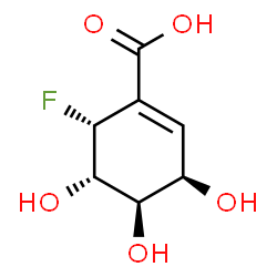 ChemSpider 2D Image | (3R,4R,5S,6R)-6-Fluoro-3,4,5-trihydroxy-1-cyclohexene-1-carboxylic acid | C7H9FO5
