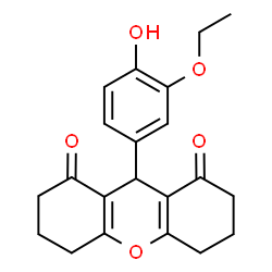 ChemSpider 2D Image | 9-(3-Ethoxy-4-hydroxy-phenyl)-3,4,5,6,7,9-hexahydro-2H-xanthene-1,8-dione | C21H22O5