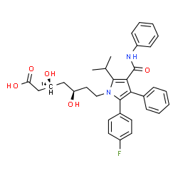 ChemSpider 2D Image | (3R,5R)-7-[2-(4-Fluorophenyl)-5-isopropyl-3-phenyl-4-(phenylcarbamoyl)-1H-pyrrol-1-yl]-3,5-dihydroxy(3-~14~C)heptanoic acid | C3214CH35FN2O5